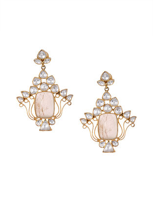 Pink Kundan Inspired Gold Tone Silver Earrings
