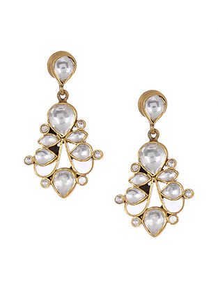 Kundan Inspired Gold Tone Silver Earrings