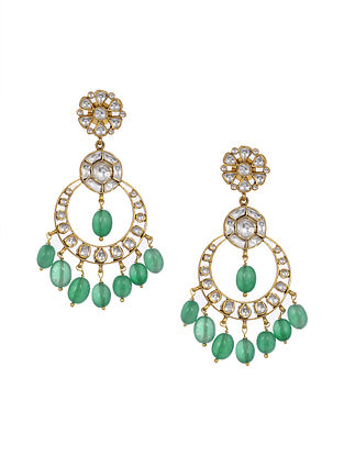 Green Kundan Inspired Gold Tone Silver Earrings