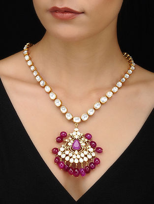 Pink Kundan Inspired Gold Tone Silver Necklace