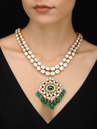 Green Kundan Inspired Gold Tone Silver Necklace