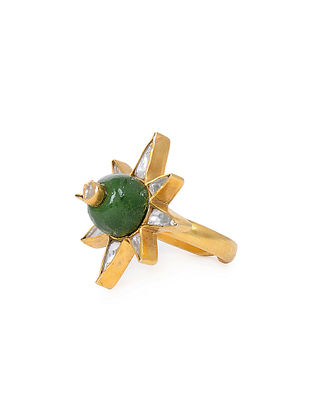 Green Kundan Inspired Gold Tone Adjustable Ring