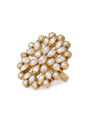 Kundan Inspired Gold Tone Silver Ring (Ring Size - 8)