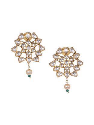 Kundan Inspired Gold Tone Silver Earrings with Pearls