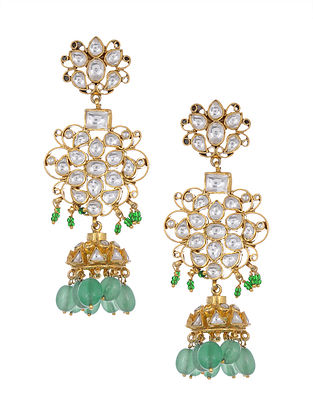Blue Green Kundan Inspired Gold Tone Silver Jhumkis