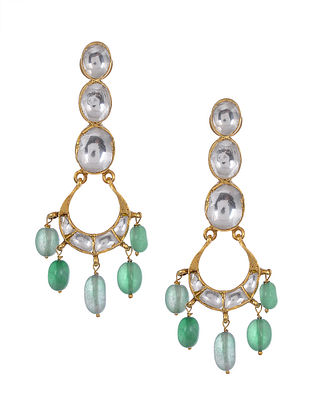 Blue Green Kundan Inspired Gold Tone Silver Earrings