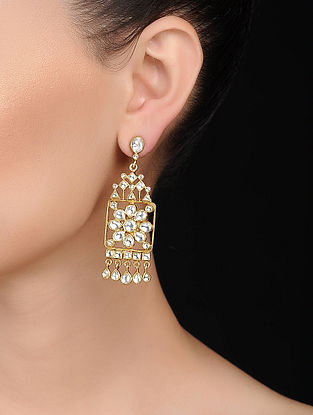 Kundan-inspired Gold Tone Silver Earrings