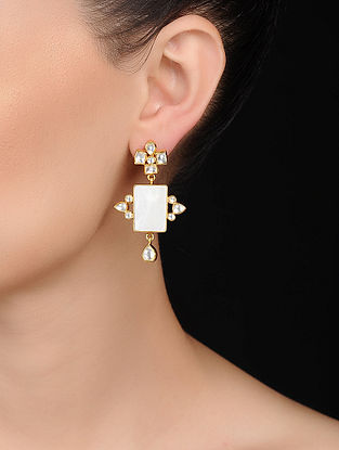 Pearl Kundan-inspired Gold Tone Silver Earrings