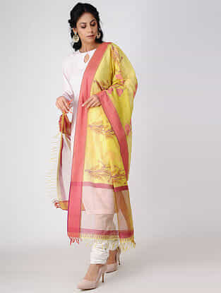 Yellow-Pink Block-printed Cotton Silk Dupatta with Woven Border