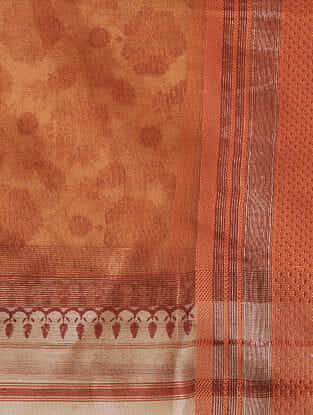 Ivory-Red Block-printed Cotton Silk Dupatta with Zari