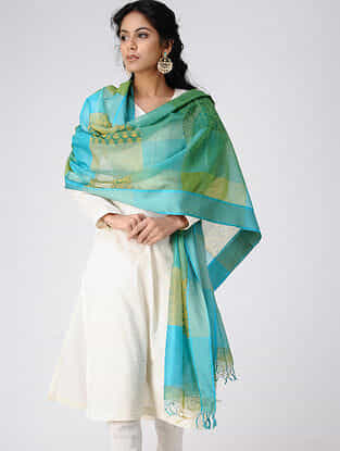 Turquoise-Green Block-printed Cotton Silk Dupatta with Woven Border