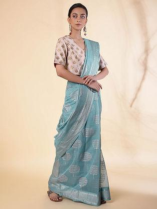 Turquoise Cotton Silk Saree with Zari