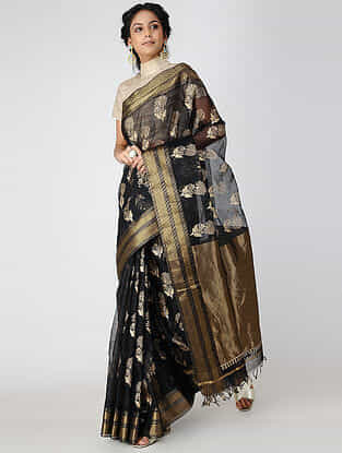 Black Block-printed Cotton Silk Saree with Zari