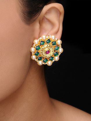 Green-Pink Kundan Inspired Gold Tone Earrings with Pearls