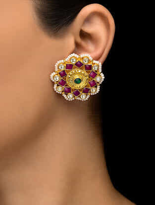Pink-Green Kundan Inspired Gold Tone Earrings