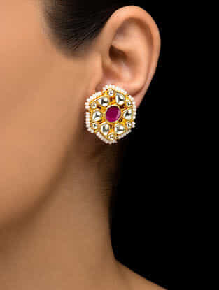 Pink Kundan Inspired Gold Tone Earrings
