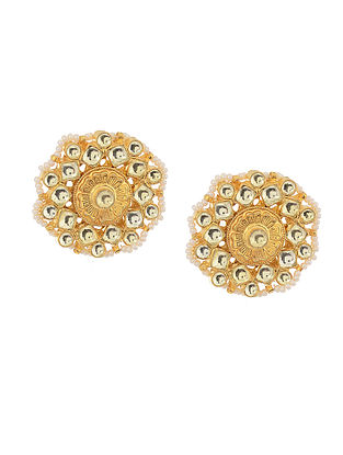 Kundan Inspired Gold Tone Pearl Beaded Earrings