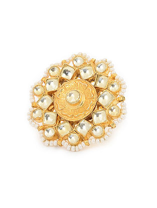 Kundan Inspired Gold Tone Pearl Beaded Adjustable Ring