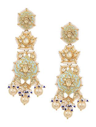 Blue Meenakari Kundan Inspired Gold Tone Pearl Beaded Earrings