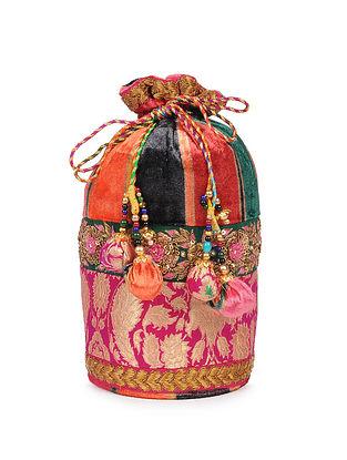 Multicolored Zardosi Embroidered Velvet Silk Potli