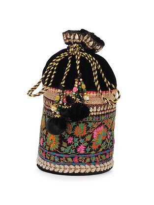 Black Hand Embroidered Vintage Velvet Wool Potli