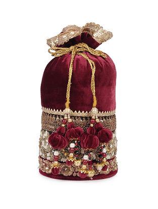 Maroon Gota Embroidered Velvet Potli