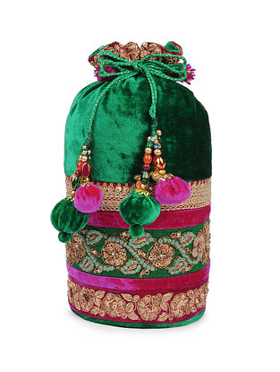 Emerald Green Zardosi Embroidered Velvet Silk Potli