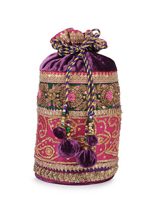 Purple Gota Embroidered Vintage Velvet Silk Potli