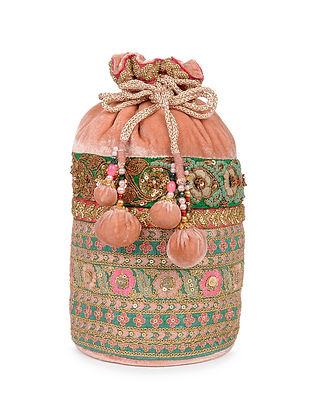 Pink Zardosi Embroidered Velvet Silk Potli
