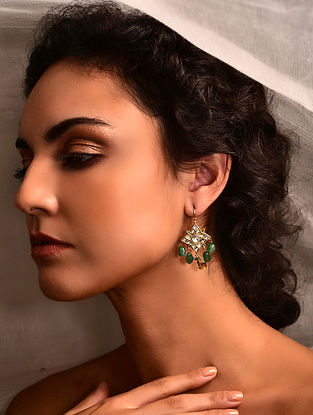 Gold Polki Earrings with Emerald and Citrine