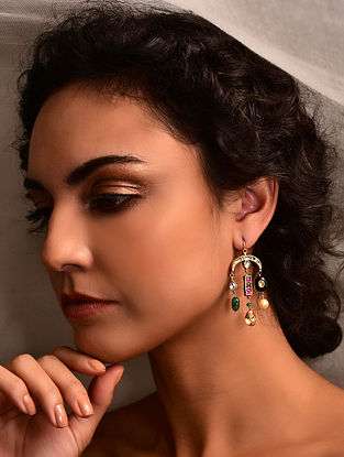 Gold Polki Earrings with Emerald, Citrine and Ruby