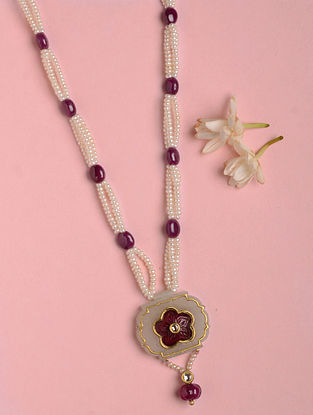 Gold Polki Necklace with Jade and Ruby
