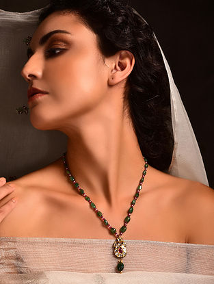Gold Polki Necklace with Ruby and Emerald
