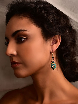 Gold Polki Earrings with Ruby and Turquoise