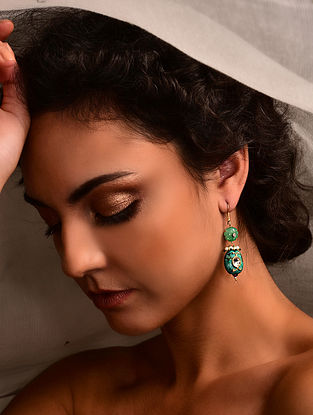 Gold Polki Earrings with Green Onyx and Turquoise