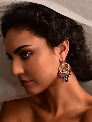 Gold Polki Earrings with Ruby and Amethyst