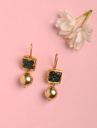Gold Earrings with Emerald