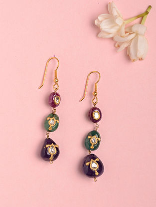 Gold Polki Earrings with Amethyst, Ruby and Emerald