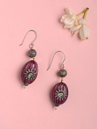 Gold Polki Earrings with Ruby and Diamonds