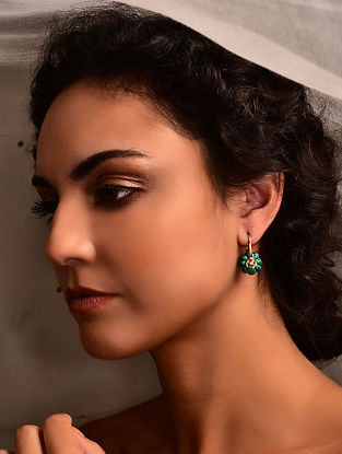 Gold Earrings with Malachite and Diamonds