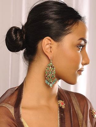 Gold Polki Earrings with Emerald