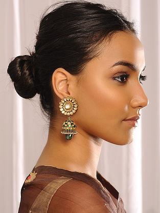 Green Enameled Jadau Gold Jhumki Earrings