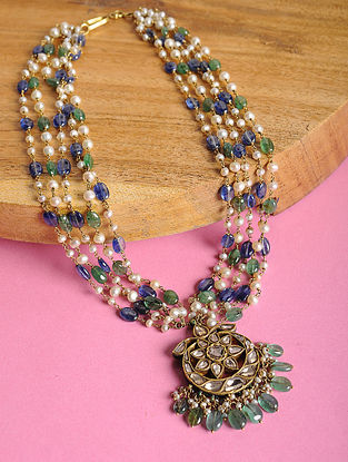 Pearl Beaded Gold Necklace with Sapphire and Emerald