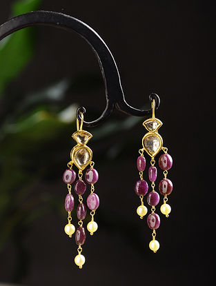 Gold Polki Earrings with Ruby and Pearls