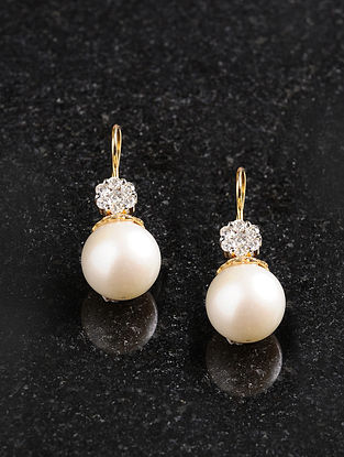 Diamond and Gold Earrings with Pearls