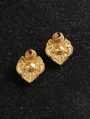 Vintage Gold Earrings with Garnet
