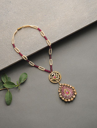 Ruby and Pearl Polki Gold Necklace