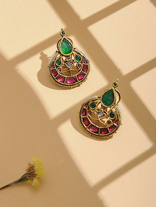 Red-Green Enameled Polki Gold Earrings with Emerald and Ruby