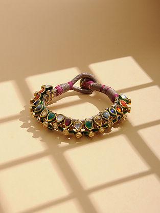 Navratan Polki Gold Bracelet