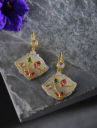 Jade and Ruby Polki Gold Earrings